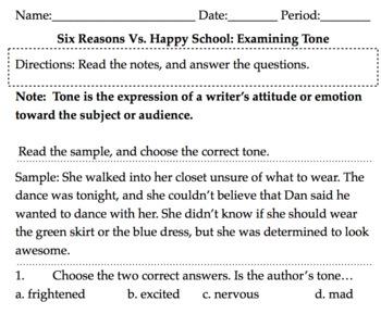 School vs Prison: Argument, ACT aspire test Q, Close Read, Tone