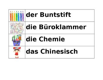 Schule (School in German) Word Wall