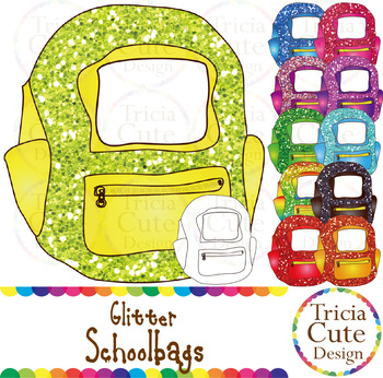 Schoolbags Backpacks Clip Art Glitter