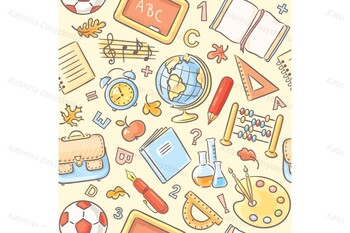 Schoolboy with a set of school things and four backgrounds