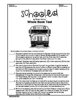 Schooled:  Whole Book Tests (CCSS Aligned)