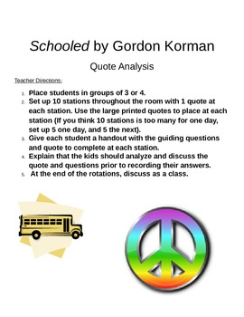 Schooled by Gordan Korman Quote analysis and small group activity