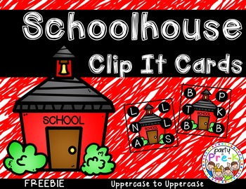 Schoolhouse ABC Clip It Cards-FREEBIE