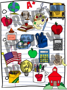Schoolhouse Clipart Set - Back to School Clip Art for August and September