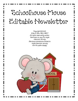 Schoolhouse Mouse Editable Newsletter