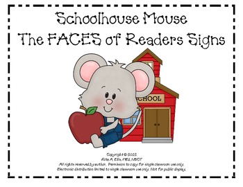 Schoolhouse Mouse FACES of a Reader Sign Set