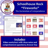 "Schoolhouse Rock ""Fireworks"" worksheet about the Declaration of Independence"