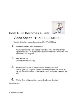 schoolhouse rock how a bill becomes a law video worksheet - How A Bill Becomes A Law Worksheet