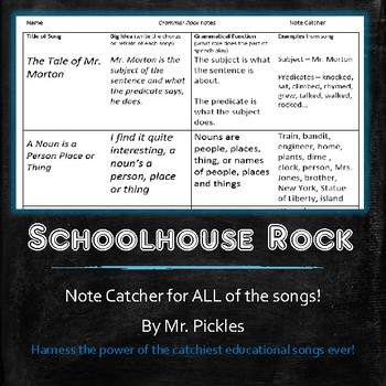 Schoolhouse Rock notes - Grammar, America, Science, and Multiplication Rock