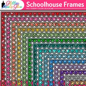 Schoolhouse Border Clip Art {Back to School Frames for Worksheets & Resources}