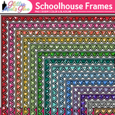 Schoolhouse Border Clip Art: Back to School Frame Graphics