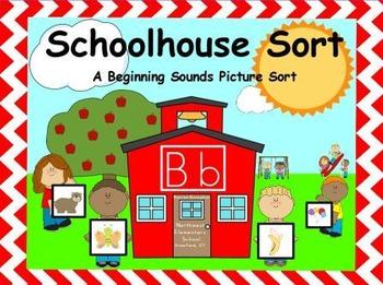 Schoolhouse Sort: A Beginning Sounds Picture Sort (Center) RF.K.3A