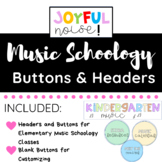 Schoology Course Headers and Buttons for Elementary Music
