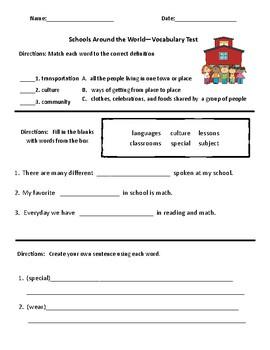 Schools Around The World - Vocabulary & Comprehension Test