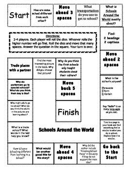 """""""Schools Around the World"""" Comprehension Game Board- Journ"""
