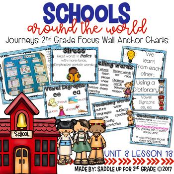 Schools Around the World Focus Wall Anchor Charts and Word Wall Cards