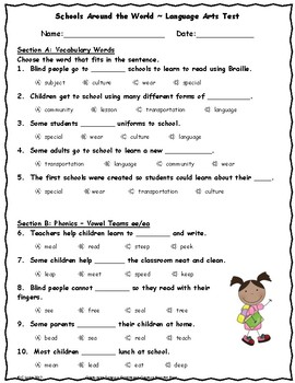 Schools Around the World ~ Language Arts Test ~ 2nd Grade ~ HMH Journeys