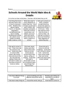 Schools Around the World Main Idea & Details Activity