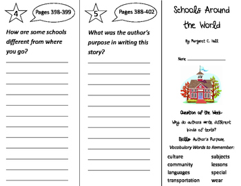 Schools Around the World Trifold - Journeys 2nd Grade Unit
