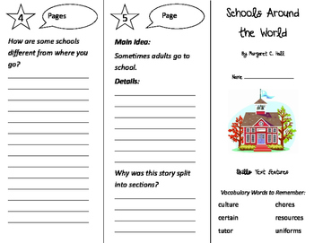 Schools Around the World Trifold - Storytown 3rd Grade Unit 1 Week 3