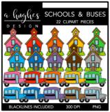 Schools & Buses Clipart {A Hughes Design}
