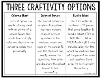 Schools First Day of School Read Aloud Craftivity Art Activity