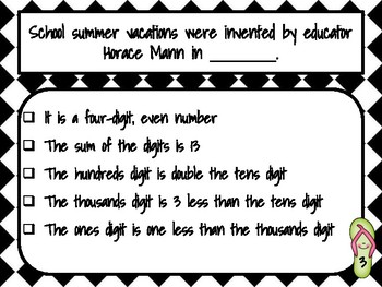 School's Out for Summer! Mystery Number - 8 Mathematical Practices - Common Core