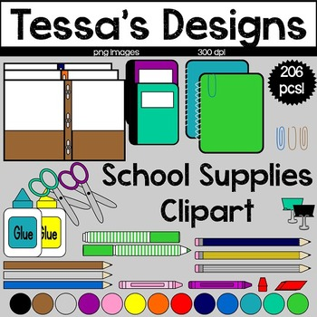 Schools Supplies Clipart Bundle