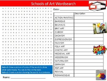 Schools of Art Wordsearch Puzzle Sheet Keywords Activity Design Universities