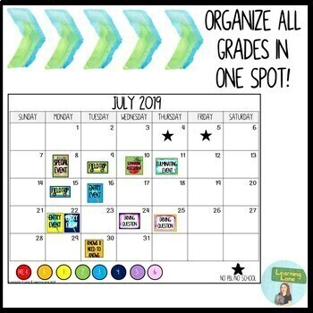 Schoolwide Calendar PBL Edition 2019-2020 Google Slide (Updated Yearly)