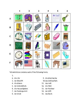 Schulsachen (School objects in German) Find it Worksheet