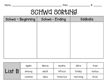 Schwa Sorting Activity - Differentiated