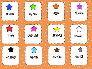 Schwa Spelling Pattern Word Sort