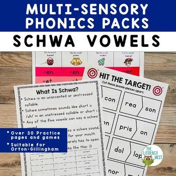 Schwa Vowels Multisensory Phonics Practice Orton-Gillingham Lesson Resource