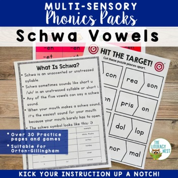 Orton-Gillingham Activities: Schwa Vowels Multisensory Reading and Spelling
