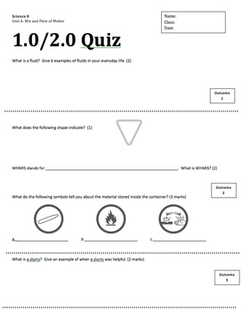 Sci 8 Mix and Flow of Matter General Outcome 1 & 2 Quiz (Outcome based Quiz)