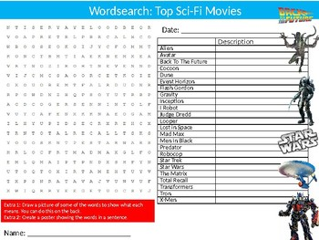 Sci-Fi Movies Wordsearch Puzzle Sheet Keywords Films Science Fiction