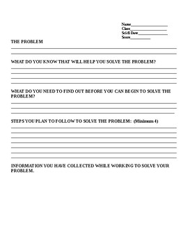 Sci fi Friday Problem Solving Sheet