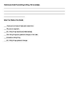 Science 3rd Grade Harcourt Quiz Chapter 1 Lesson 1- Living Things