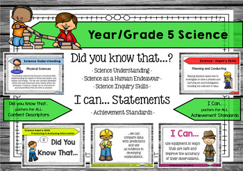 Science 5 - Did You Know & I Can Posters - Content Descriptors & Achievement