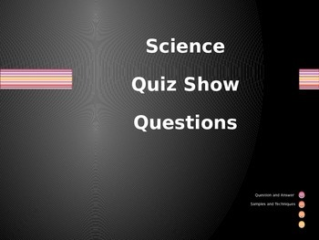 Science 5th Grade End of Year Review Questions Quiz Show