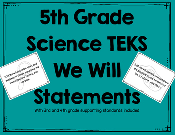 Science 5th Grade TEKS We Will Statements