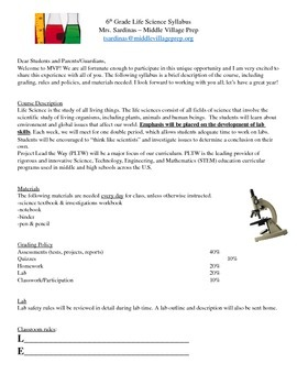 Science 6th Grade Syllabus EDITABLE