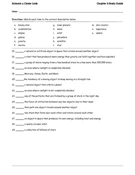 Science A Closer Look Ch. 8 Study Guide & Test
