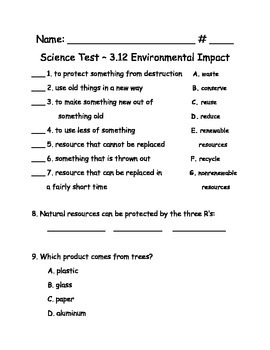 Science AL 3.12 Voc. and Test - New Common Core Standards -3rd Grade