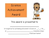 Science Achievement Award:  Certificate