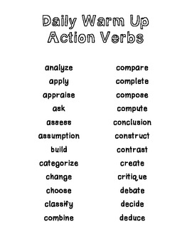 Science Action Verbs