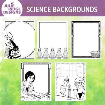 Science Clip Art Borders in Color & BW
