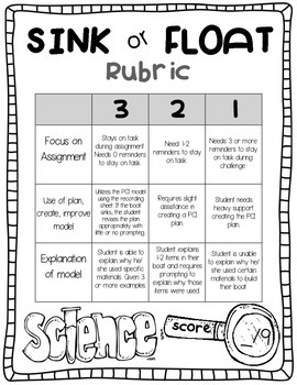 science activities float or sink stem challenge with rubric tpt. Black Bedroom Furniture Sets. Home Design Ideas
