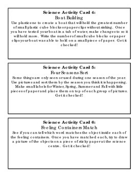 Science Activity Cards